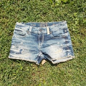 Buckle Black Distressed Denim Shorts Size 26